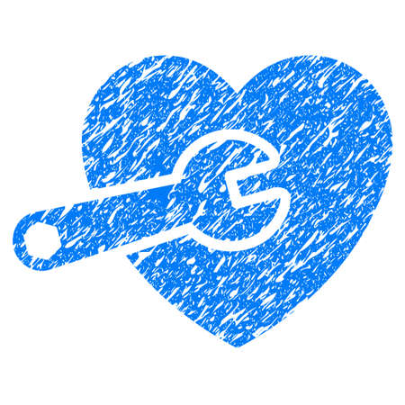 Grunge Heart Surgery icon with grunge design and scratched texture. Unclean vector blue pictogram for rubber seal stamp imitations and watermarks. Draft emblem symbol.