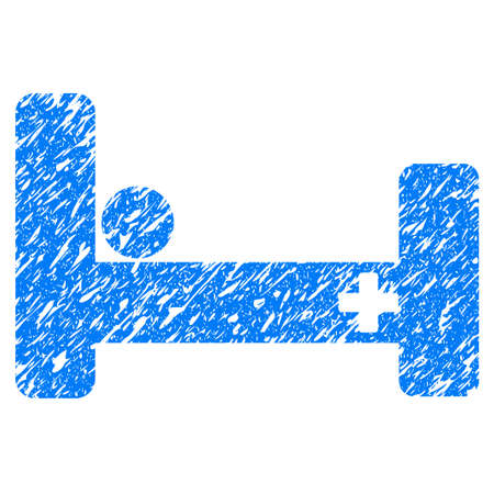 Grunge Hospital Bed icon with grunge design and dirty texture. Unclean vector blue pictogram for rubber seal stamp imitations and watermarks. Draft sticker symbol.