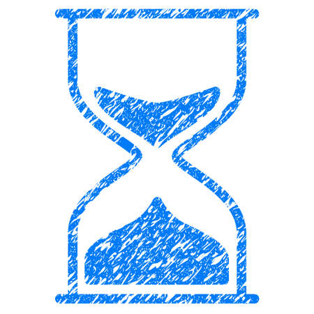 Grunge Hourglass icon with grunge design and scratched texture. Unclean vector blue pictogram for rubber seal stamp imitations and watermarks. Draft sign symbol. Illustration