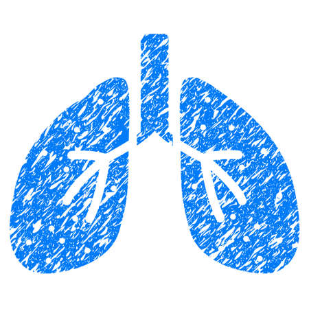 Grunge Lungs icon with grunge design and dirty texture. Unclean vector blue pictogram for rubber seal stamp imitations and watermarks. Draft sign symbol. Illustration