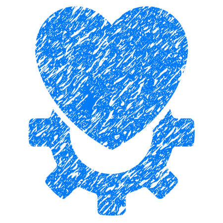 Grunge Mechanical Heart icon with grunge design and dust texture. Unclean vector blue pictogram for rubber seal stamp imitations and watermarks. Draft sign symbol.