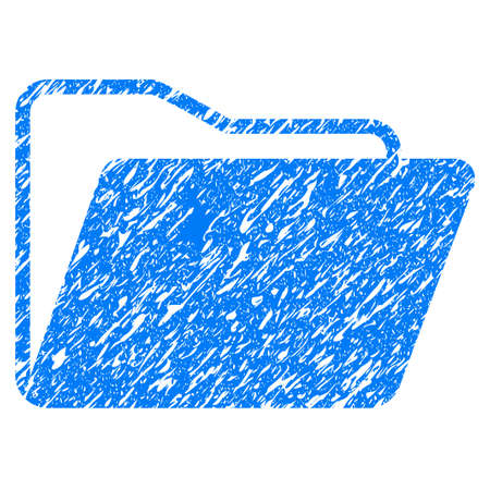 directory: Grunge Open Folder icon with grunge design and scratched texture. Unclean vector blue pictogram for rubber seal stamp imitations and watermarks. Draft sticker symbol.