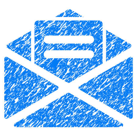 Grunge Open Mail icon with grunge design and dirty texture. Unclean vector blue pictogram for rubber seal stamp imitations and watermarks. Draft sticker symbol. Illustration