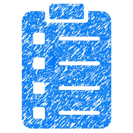 Grunge Pad Form icon with grunge design and dirty texture. Unclean vector blue pictogram for rubber seal stamp imitations and watermarks. Draft sticker symbol.