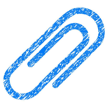 Grunge Paperclip icon with grunge design and unclean texture. Unclean vector blue pictogram for rubber seal stamp imitations and watermarks. Draft sticker symbol.
