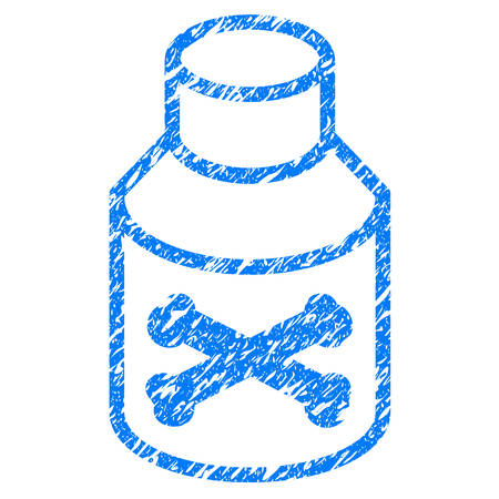 Grunge Poison Bottle icon with grunge design and dust texture. Unclean vector blue pictogram for rubber seal stamp imitations and watermarks. Draft sticker symbol.