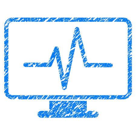 heart monitor: Grunge Pulse Monitoring icon with grunge design and dust texture. Unclean vector blue pictogram for rubber seal stamp imitations and watermarks. Draft sticker symbol.