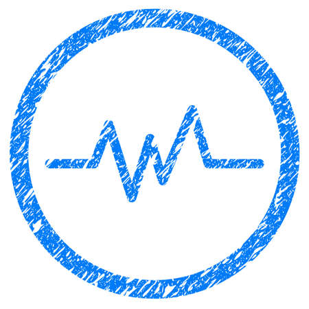 Grunge Pulse Monitoring icon with grunge design and dust texture. Unclean vector blue pictogram for rubber seal stamp imitations and watermarks. Draft sign symbol.