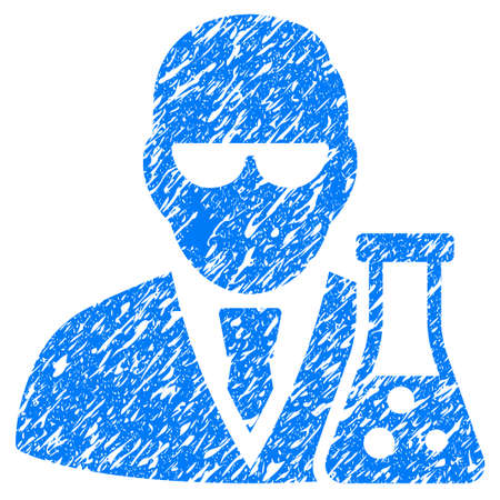 Grunge Scientist With Flask icon with grunge design and unclean texture. Unclean vector blue pictogram for rubber seal stamp imitations and watermarks. Draft sticker symbol.