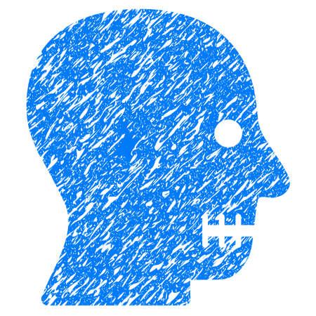 dientes sucios: Grunge cosido icono de la boca con el diseño del grunge y la textura sucia. Pictograma azul impuro del vector para las imitaciones y las marcas de agua del sello del sello de goma. Símbolo de emblema de proyecto.