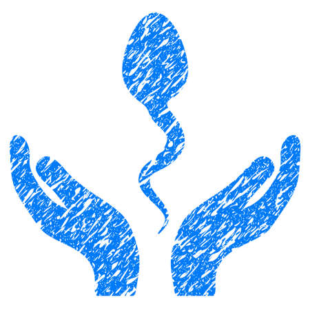 Grunge Sperm Care Hands icon with grunge design and dirty texture. Unclean vector blue pictogram for rubber seal stamp imitations and watermarks. Draft emblem symbol. Illustration