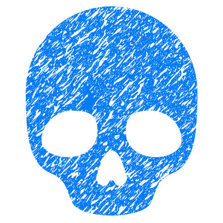 Grunge Skull icon with grunge design and unclean texture. Unclean vector blue pictogram for rubber seal stamp imitations and watermarks. Draft sign symbol. Illustration