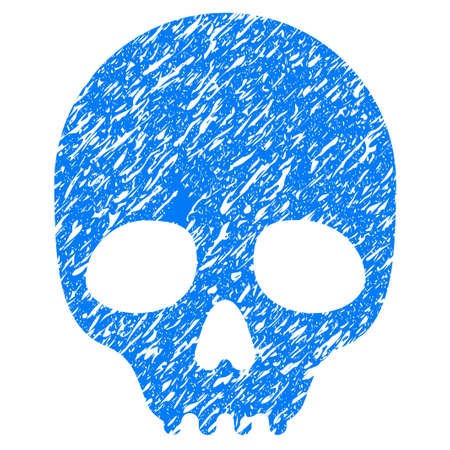 Grunge Skull icon with grunge design and unclean texture. Unclean vector blue pictogram for rubber seal stamp imitations and watermarks. Draft emblem symbol.
