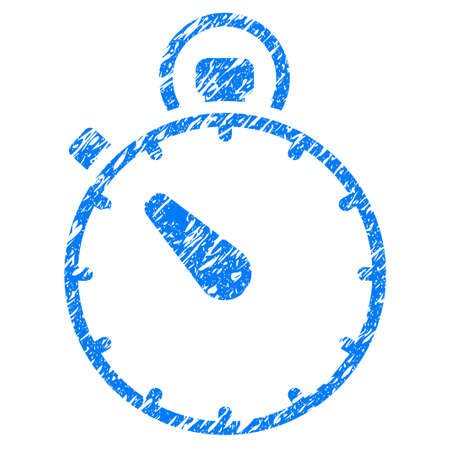 Grunge Stopwatch icon with grunge design and dust texture. Unclean vector blue pictogram for rubber seal stamp imitations and watermarks. Draft emblem symbol.