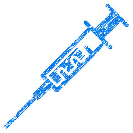 Grunge Syringe icon with grunge design and dirty texture. Unclean vector blue pictogram for rubber seal stamp imitations and watermarks. Draft emblem symbol.