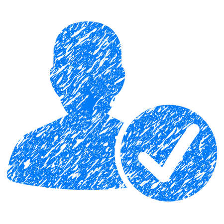 valid: Grunge Valid Patient icon with grunge design and scratched texture. Unclean vector blue pictogram for rubber seal stamp imitations and watermarks. Draft sign symbol.