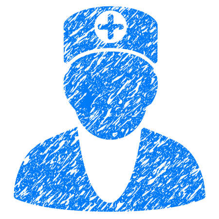 Grunge Doctor icon with grunge design and dirty texture. Unclean vector blue pictogram for rubber seal stamp imitations and watermarks. Draft sticker symbol.