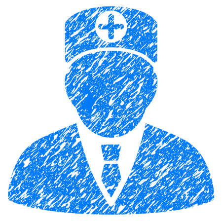 Grunge Head Physician icon with grunge design and unclean texture. Unclean vector blue pictogram for rubber seal stamp imitations and watermarks. Draft emblem symbol. Illustration