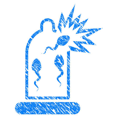 Grunge Condom Sperm Damage icon with grunge design and dirty texture. Unclean raster blue pictogram for rubber seal stamp imitations and watermarks. Draft sign symbol.