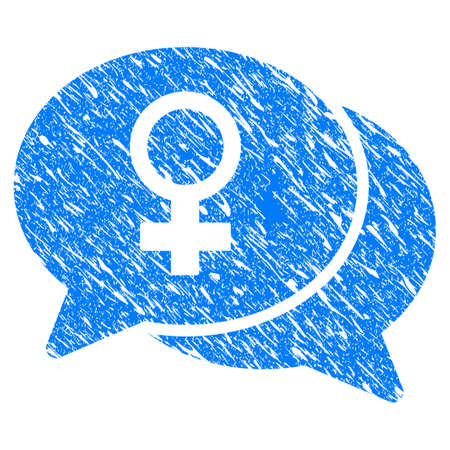 Grunge Female Chat icon with grunge design and scratched texture. Unclean raster blue pictogram for rubber seal stamp imitations and watermarks. Draft sign symbol. Stock Photo
