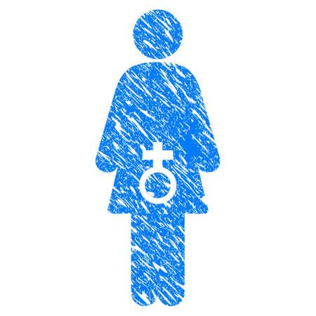 그런 지 여성 성적 장애 아이콘 grunge 디자인 및 더러운 텍스처. 고무 도장 스탬프 모방과 워터 마크에 대한 더러운 래스터 파란색 그림. 임시 스티커 아 스톡 콘텐츠