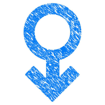 Grunge Impotence Symbol icon with grunge design and dust texture. Unclean raster blue pictogram for rubber seal stamp imitations and watermarks. Draft sticker symbol.