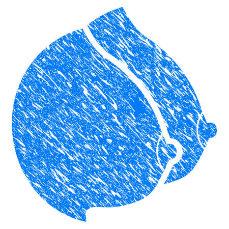 Grunge Female Tits icon with grunge design and scratched texture. Unclean vector blue pictogram for rubber seal stamp imitations and watermarks. Draft sticker symbol.