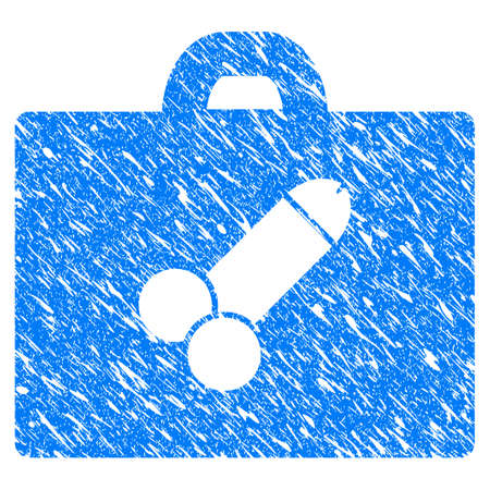 Grunge Sexual Toolbox icon with grunge design and unclean texture. Unclean vector blue pictogram for rubber seal stamp imitations and watermarks. Draft sticker symbol.