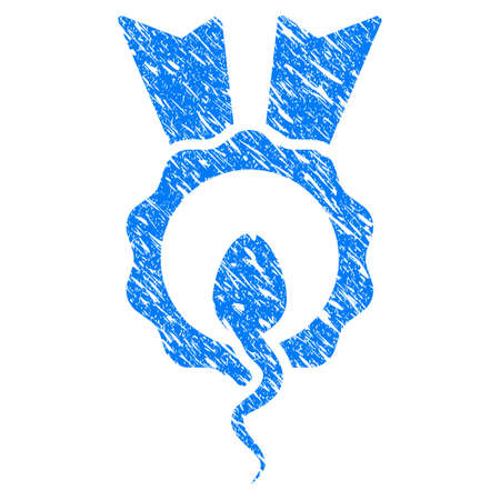 Grunge Sperm Winner icon with grunge design and scratched texture. Unclean vector blue pictogram for rubber seal stamp imitations and watermarks. Draft emblem symbol.