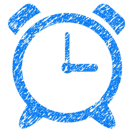 grungy: Grunge Alarm Clock icon with grunge design and dirty texture. Unclean raster blue pictogram for rubber seal stamp imitations and watermarks. Draft emblem symbol.