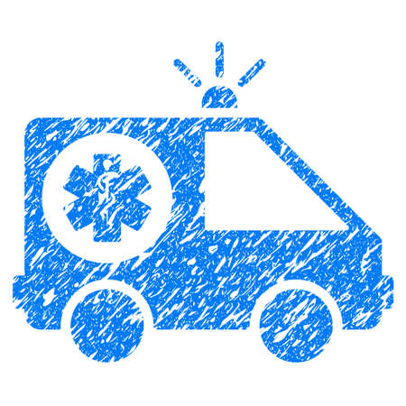 Grunge Ambulance Car icon with grunge design and unclean texture. Unclean raster blue pictogram for rubber seal stamp imitations and watermarks. Draft sticker symbol.