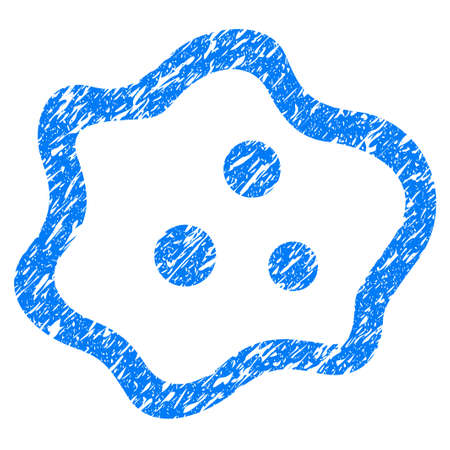 Grunge Amoeba icon with grunge design and dust texture. Unclean raster blue pictogram for rubber seal stamp imitations and watermarks. Draft sign symbol.