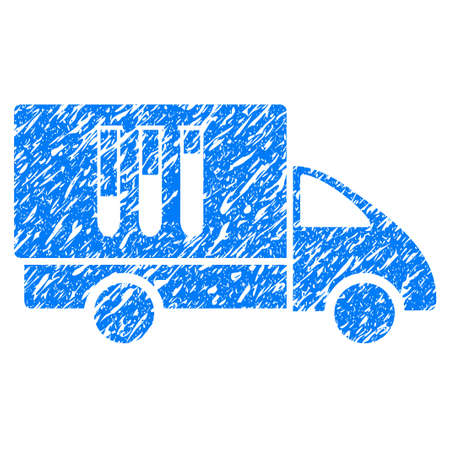 grungy: Grunge Analysis Delivery icon with grunge design and unclean texture. Unclean raster blue pictogram for rubber seal stamp imitations and watermarks. Draft sticker symbol. Stock Photo