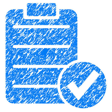 Grunge Apply Form icon with grunge design and unclean texture. Unclean raster blue pictogram for rubber seal stamp imitations and watermarks. Draft sticker symbol.