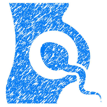 Grunge Artificial Insemination icon with grunge design and dust texture. Unclean raster blue pictogram for rubber seal stamp imitations and watermarks. Draft emblem symbol.