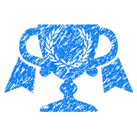 grungy: Grunge Award Cup icon with grunge design and dust texture. Unclean raster blue pictogram for rubber seal stamp imitations and watermarks. Draft sticker symbol.