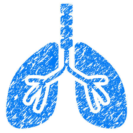respiration: Grunge Breathe System icon with grunge design and scratched texture. Unclean raster blue pictogram for rubber seal stamp imitations and watermarks. Draft sticker symbol.