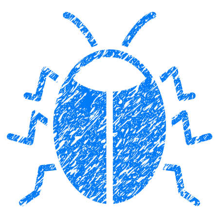 security symbol: Grunge Bug icon with grunge design and scratched texture. Unclean raster blue pictogram for rubber seal stamp imitations and watermarks. Draft emblem symbol. Stock Photo