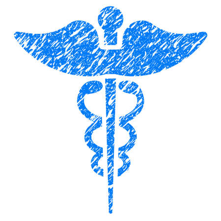 Grunge Caduceus icon with grunge design and dirty texture. Unclean raster blue pictogram for rubber seal stamp imitations and watermarks. Draft sticker symbol.