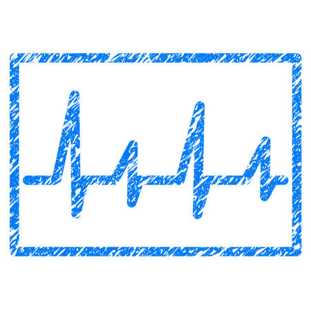 Grunge Cardiogram icon with grunge design and scratched texture. Unclean raster blue pictogram for rubber seal stamp imitations and watermarks. Draft emblem symbol.