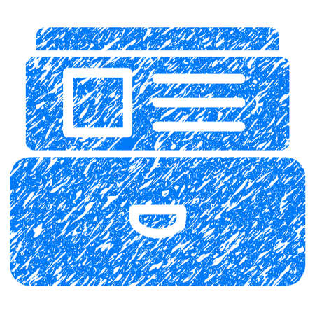 directory: Grunge Catalog icon with grunge design and scratched texture. Unclean raster blue pictogram for rubber seal stamp imitations and watermarks. Draft sign symbol.