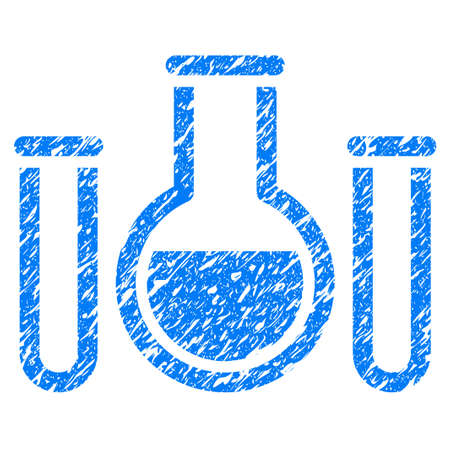 grungy: Grunge Chemical Vessels icon with grunge design and dirty texture. Unclean raster blue pictogram for rubber seal stamp imitations and watermarks. Draft sticker symbol.