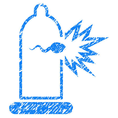 Grunge Condom Sperm Escape icon with grunge design and unclean texture. Unclean raster blue pictogram for rubber seal stamp imitations and watermarks. Draft sticker symbol. Stock Photo