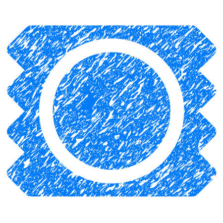 Grunge Condom icon with grunge design and scratched texture. Unclean raster blue pictogram for rubber seal stamp imitations and watermarks. Draft emblem symbol. Stock Photo