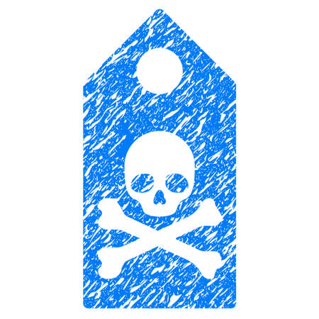 scratched: Grunge Death Mark icon with grunge design and dust texture. Unclean raster blue pictogram for rubber seal stamp imitations and watermarks. Draft sign symbol.