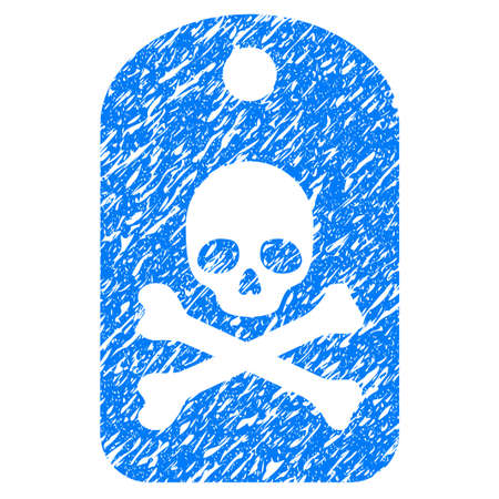 scratched: Grunge Death Sticker icon with grunge design and unclean texture. Unclean raster blue pictogram for rubber seal stamp imitations and watermarks. Draft emblem symbol.