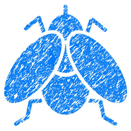 grungy: Grunge Fly icon with grunge design and scratched texture. Unclean raster blue pictogram for rubber seal stamp imitations and watermarks. Draft emblem symbol.