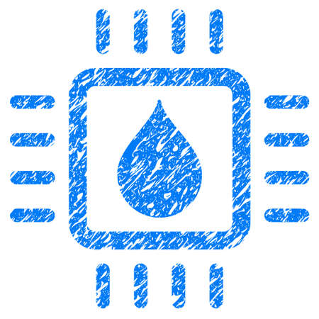 grungy: Grunge Drop Analysis Chip icon with grunge design and dirty texture. Unclean raster blue pictogram for rubber seal stamp imitations and watermarks. Draft sign symbol. Stock Photo