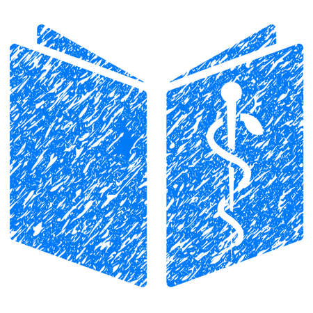 grungy: Grunge Drug Handbook icon with grunge design and dirty texture. Unclean raster blue pictogram for rubber seal stamp imitations and watermarks. Draft sticker symbol. Stock Photo
