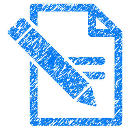 grungy: Grunge Edit Records icon with grunge design and dirty texture. Unclean raster blue pictogram for rubber seal stamp imitations and watermarks. Draft emblem symbol.